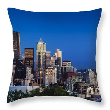 Throw Pillow featuring the photograph Seattle Skyline Panoramic by Brian Jannsen