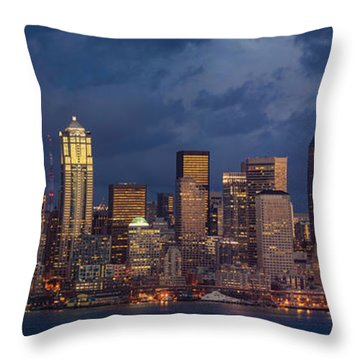 Seattle Skyline Sunset Detail Throw Pillow by Mike Reid