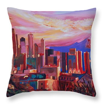 Seattle Skyline With Space Needle And Mt Rainier Throw Pillow by M Bleichner
