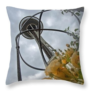 Seattle Spaceneedle With Watercolor Effect Yellow Roses Throw Pillow by Valerie Garner