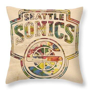 Seattle Supersonics Poster Art Throw Pillow by Florian Rodarte