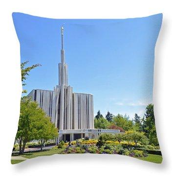 Seattle Temple - Horizontal Throw Pillow