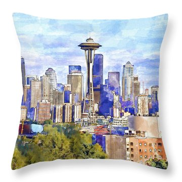 Seattle View In Watercolor Throw Pillow