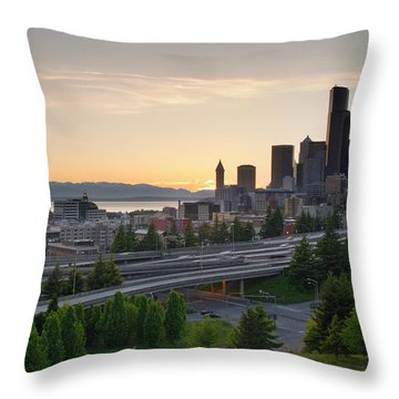 Throw Pillow featuring the photograph Seattle Washington Downtown City Sunset by JPLDesigns