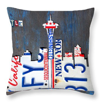Seattle Washington Space Needle Skyline License Plate Art By Design Turnpike Throw Pillow by Design Turnpike