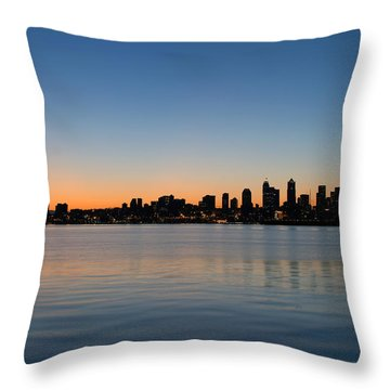 Throw Pillow featuring the photograph Seattle Washington Waterfront Skyline At Sunrise Panorama by JPLDesigns