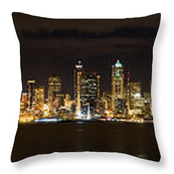 Seattle Waterfront At Night Panoramic Throw Pillow by Chris McKenna