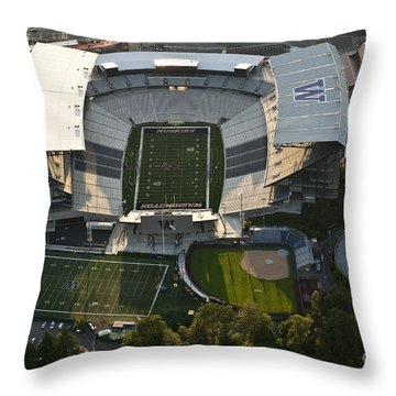 Seattle With Aerial View Of The Newly Renovated Husky Stadium Throw Pillow