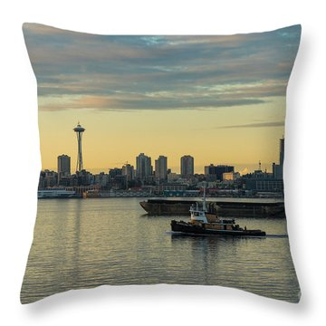 Seattles Working Harbor Throw Pillow by Mike Reid