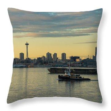Seattles Working Harbor Throw Pillow