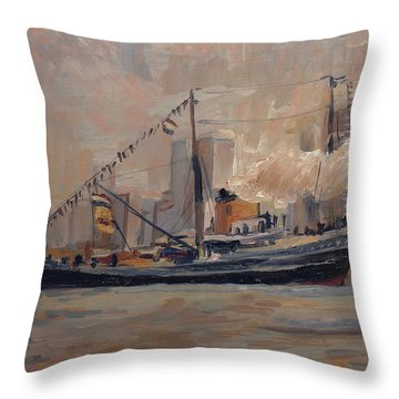 Throw Pillow featuring the painting Seatug Holland In Rotterdam by Nop Briex