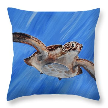 Throw Pillow featuring the painting Seaturtle by Steve Ozment