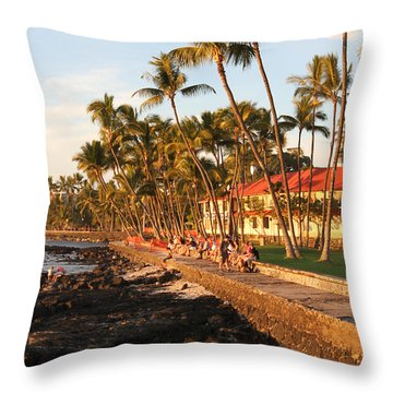 Seawall At Sunset Throw Pillow by Denise Bird