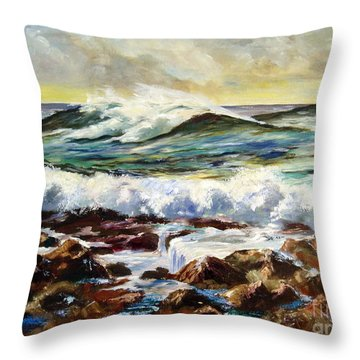 Throw Pillow featuring the painting Seawall by Lee Piper