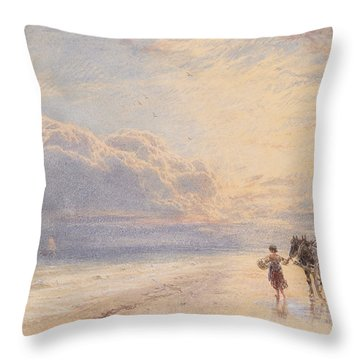 Seaweed Gatherers Throw Pillow by Myles Birket Foster