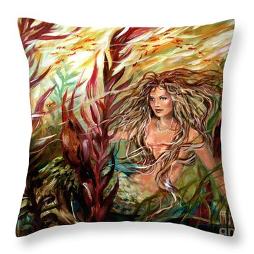 Seaweed Mermaid Throw Pillow by Linda Olsen