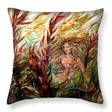 Seaweed Mermaid Pillow Throw Pillow by Linda Olsen