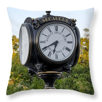 Secaucus Clock Marras Drugs Throw Pillow by Susan Candelario
