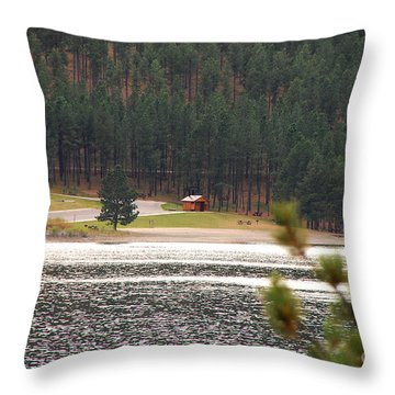 Secluded Cabin Throw Pillow by Mary Carol Story