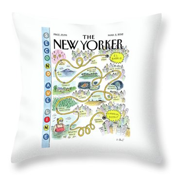 Second Avenue Line Throw Pillow