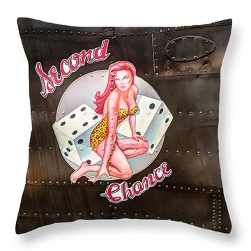 Second Chance - Aircraft Nose Art - Pinup Girl Throw Pillow
