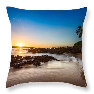 Secret Beach Sunset Throw Pillow