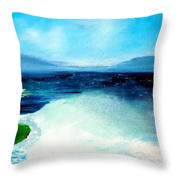 Secret Beach Surf Art Throw Pillow