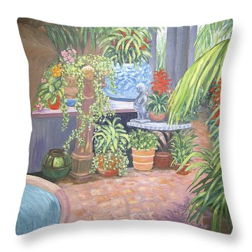 Throw Pillow featuring the painting Secret Garden by Karen Zuk Rosenblatt