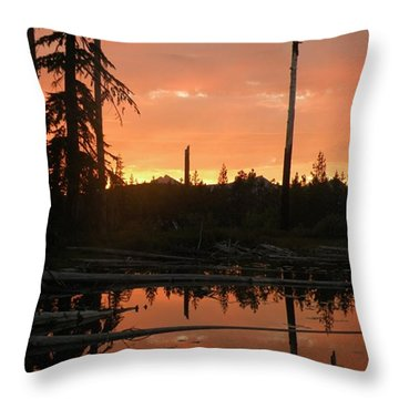 Throw Pillow featuring the photograph Secret Lake Sunset by Carlee Ojeda