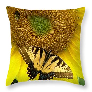 Secret Lives Of Sunflowers Throw Pillow