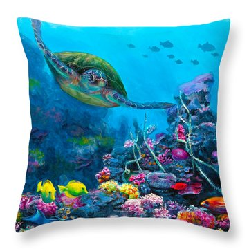 Secret Sanctuary - Hawaiian Green Sea Turtle And Reef Throw Pillow