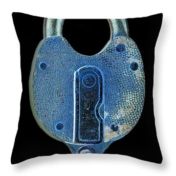 Throw Pillow featuring the photograph Secure - Lock On Black  by Denise Beverly