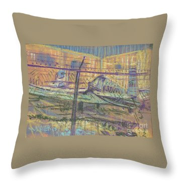 Throw Pillow featuring the painting Secured Planes by Donald Maier