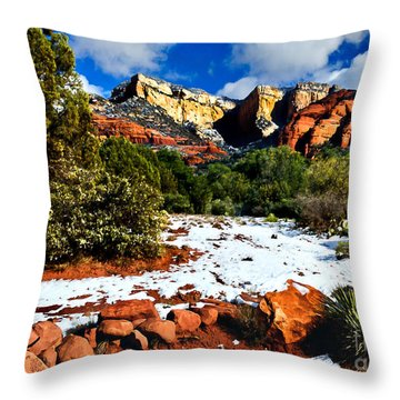 Throw Pillow featuring the photograph Sedona Arizona - Wilderness by Bob and Nadine Johnston