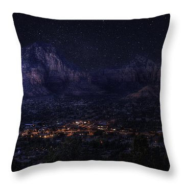 Throw Pillow featuring the photograph Sedona By Night by Lynn Geoffroy