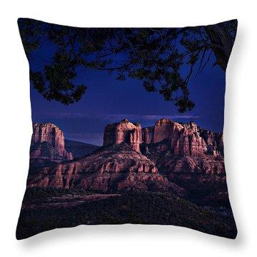 Sedona Cathedral Rock Post Sunset Glow Throw Pillow