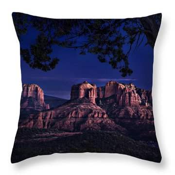 Sedona Cathedral Rock Post Sunset Glow Throw Pillow by Mary Jo Allen