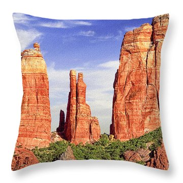 Sedona Red Rock Cathedral Rock State Park Throw Pillow by Bob and Nadine Johnston