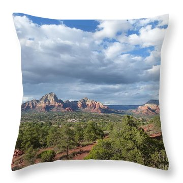 Sedona View Trail Throw Pillow by Marlene Rose Besso