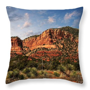 Throw Pillow featuring the photograph Sedona Vortex  And Yucca by Barbara Chichester