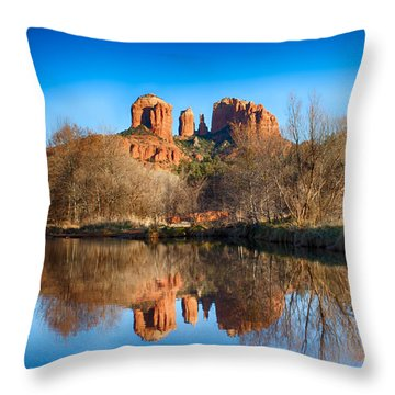 Sedona Winter Reflections Throw Pillow by Fred Larson
