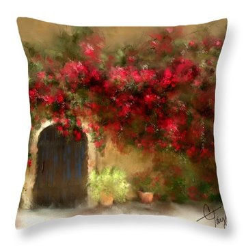 The Bougainvillea's Of Sedona Throw Pillow by Colleen Taylor