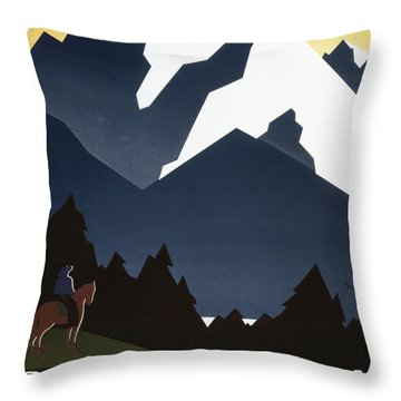 See America - Montana Mountains Throw Pillow by Georgia Fowler