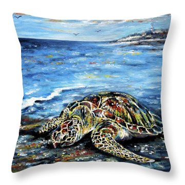 See Weed Turtle Throw Pillow