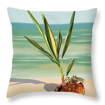 Throw Pillow featuring the painting Seedling Floating Ashore by Anne Beverley-Stamps