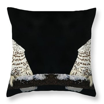 Seeing Double- Snowy Owl At Twilight Throw Pillow by Inspired Nature Photography Fine Art Photography