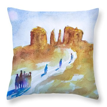 Seekers At Cathedral Rock Throw Pillow