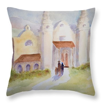 Seekers At The Mission Throw Pillow