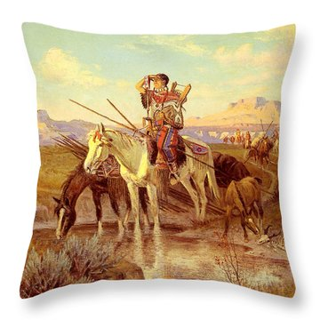 Seeking New Camping Ground Throw Pillow by Olaf Seltzer