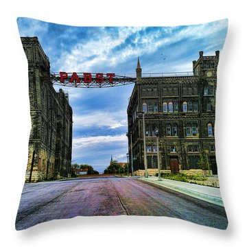 Seen Better Days Old Pabst Brewery Home Of Blue Ribbon Beer Since 1860 Now Derelict Throw Pillow by Lawrence Christopher